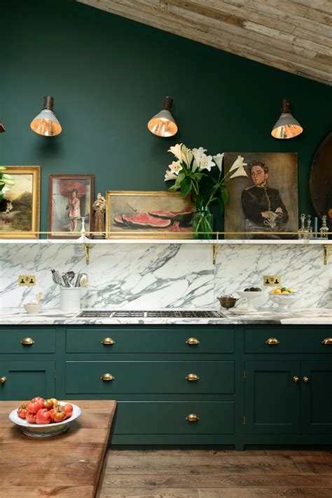 victorian green marble  brass kitchen design digsdigs