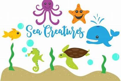 Sea Creatures Clip Illustrations Designer Follow