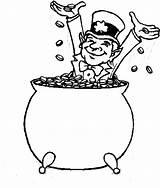 Leprechaun Pot Coloring Gold Coins Pages Happy Inside Bathe Printable Jokes sketch template