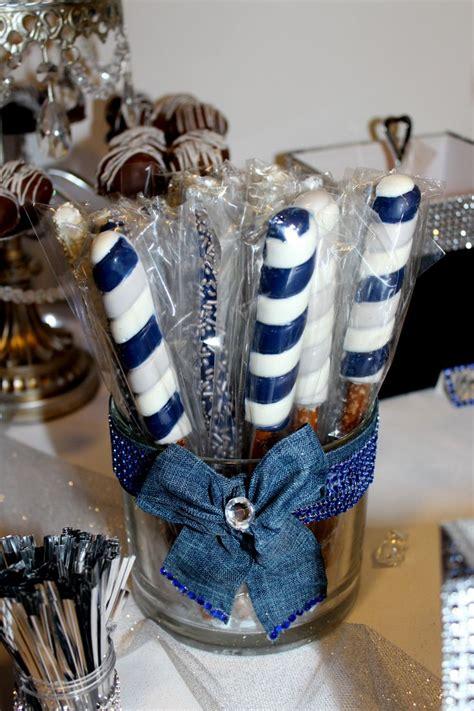 chocolate covered pretzels denim diamonds candy table
