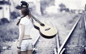 Stylish short jeans girl with guitar - New hd wallpaperNew ...