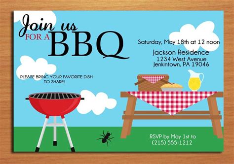 summer picnic customized printable bbq