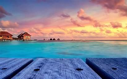 Tropical Sunset Landscape Maldives Water Desktop Island