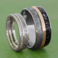black gold mens wedding rings meteorite wedding band set with gold pinstripes womens wedding band in white gold
