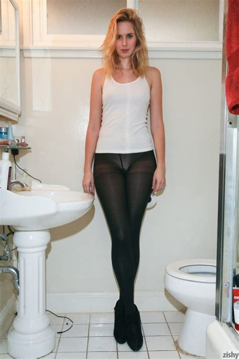Tall Teen Nessa Millard Drops Sheer Black Pantyhose To