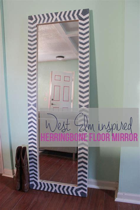 Diy Herringbone Floor Mirror     Wall Mirror