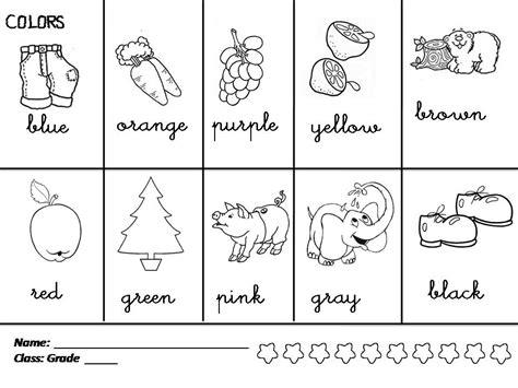 worksheets on colors for grade 1 coloring printables kindergarten with worksheets for