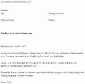 Urlaubstage Berechnen Bei Kündigung : k ndigungsschreiben arbeitgeber zum download ~ Themetempest.com Abrechnung