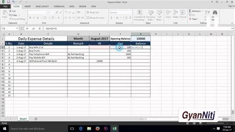 how to maintain daily expenses in excel expenses record