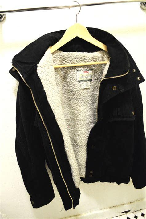 vintage black denim jacket  wool   storenvy