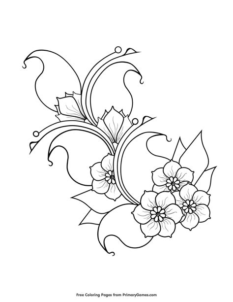 Cherry Blossoms Coloring Page • FREE Printable eBook