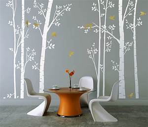leafy trees white wall sticker by zazous With white wall decals