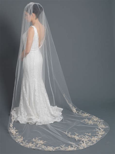 Single Layer Bridal Wedding Cathedral Length Veil Wivory