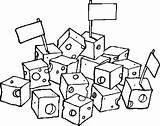 Coloring Cube Cheese Cubes Dairy Getcolorings Getdrawings Printable sketch template