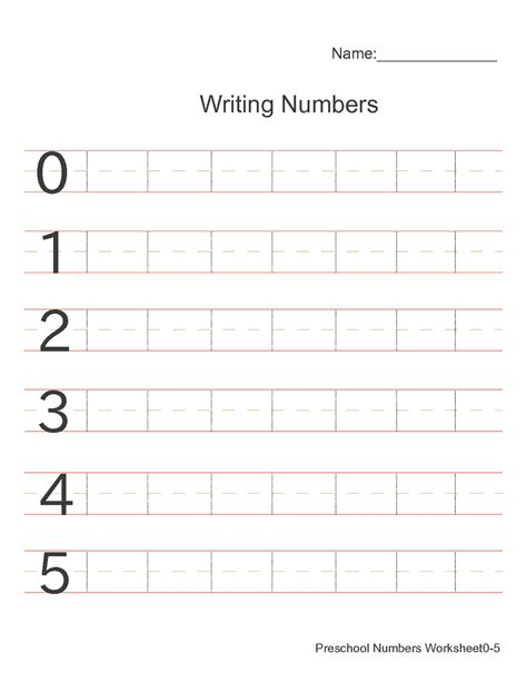 printable number practice sheets activity shelter
