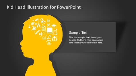 kid head silhouette illustration powerpoint template