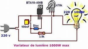 Interrupteur Variateur De Lumiere : schema de variateur de lumi re a triac 1000w max ~ Farleysfitness.com Idées de Décoration
