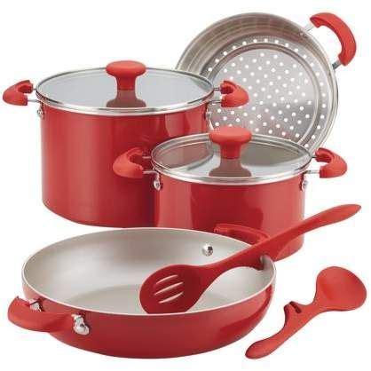 rachael ray  cooking stackable nonstick cookware set