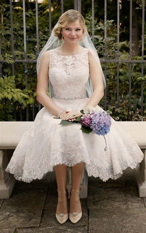 embroidered knee length wedding gown  essense  australia
