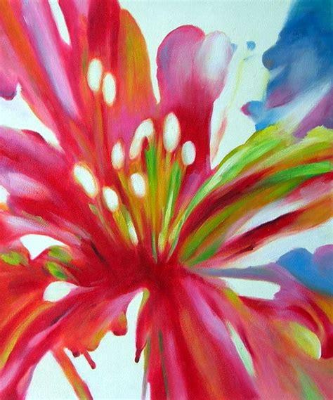 peinture fleur pistils blancs tableau peint sur toile