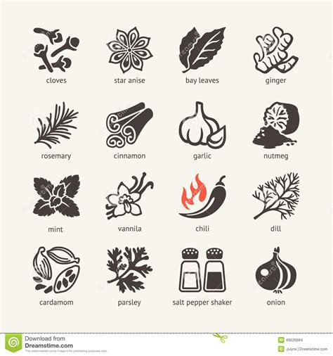 aroma indian cuisine web icon set spices condiments and herbs stock vector