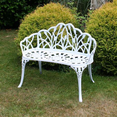 charles bentley white tulip metal patio bench garden