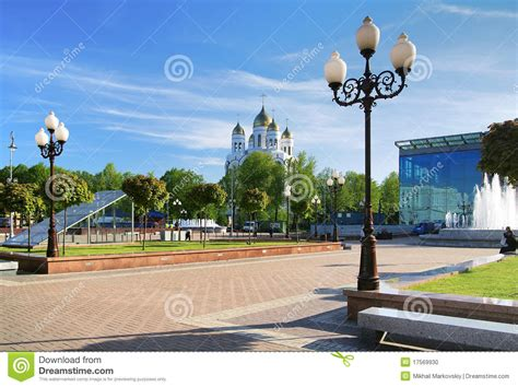 victory square and cathedral in kaliningrad stock photo