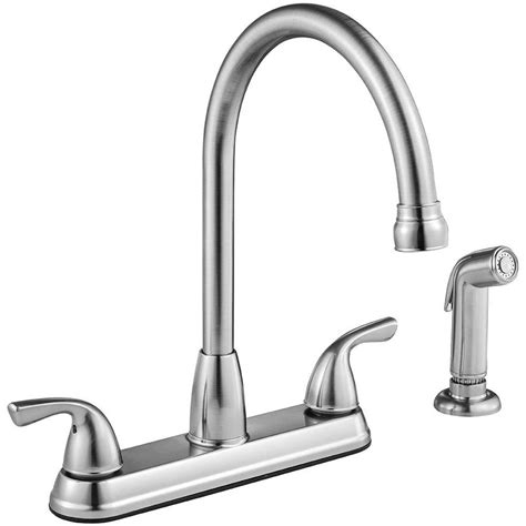 high arc kitchen faucet shop project source stainless steel 2 handle deck mount