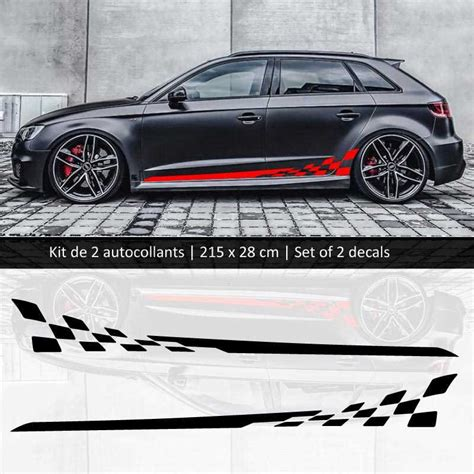 sticker set kit audi  style racing side stripes decals