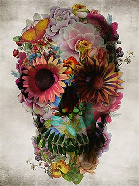 Skull Flowers Art Abstract Oil Paintings Canvas