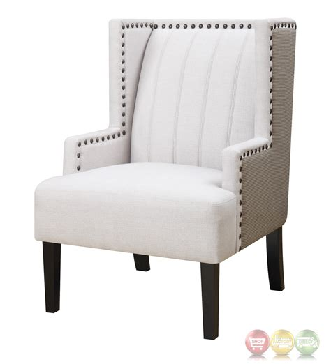 wingback beige square accent chair with nailhead trim