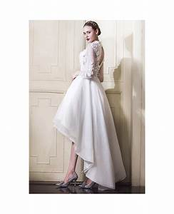 classy lace high low wedding dresses with sleeves a line With long sleeve high low wedding dresses
