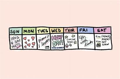Week Favorite Days Calendar Bright Animation Monday