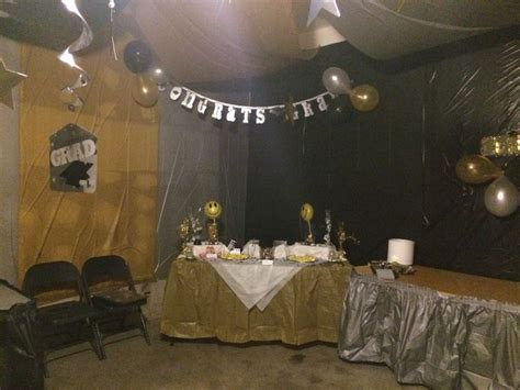 garage decorated  graduation party graduation party