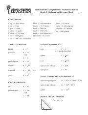 commoncorereferencesheet common core high school math