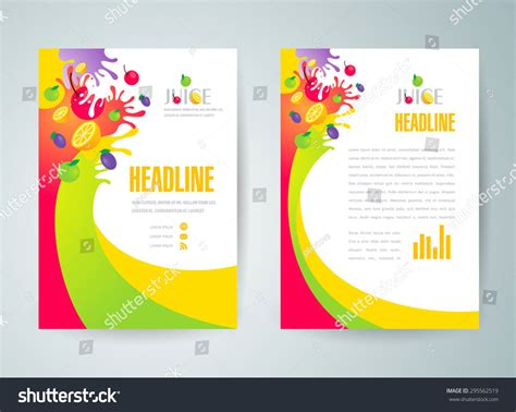 Brochure Design Template Juice Fruit Drops Stock Vector Flyer Brochure Design Template Abstract Fruit Stock Vector