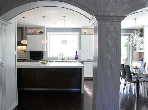 transitional kitchen  columns  arches hgtv