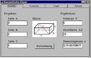 Körper Berechnen : delphi projekt bung berechnung geometrischer k rper ~ Themetempest.com Abrechnung