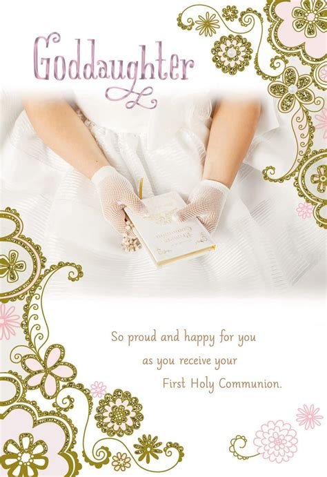 hands  white gloves  holy communion card