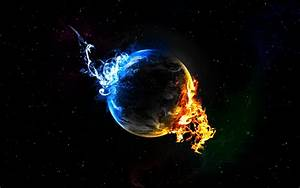 Black Background Earth Elements Fire Outer Space Plan