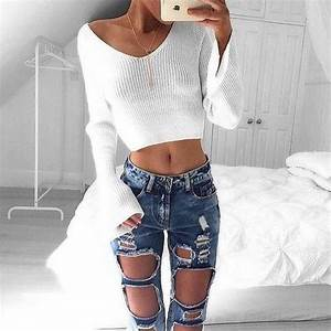 25+ best ideas about Ripped jeans outfit on Pinterest | Ripped jeans Jeans and Summer jean outfits