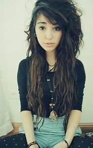 Long, indie, scene hair | Hair | Brown scene hair, Curly ...