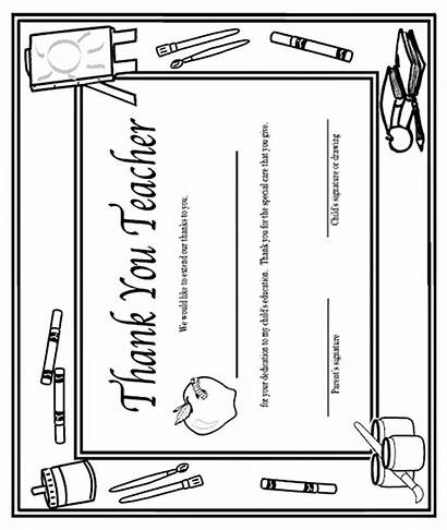 Teacher Coloring Thank Pages Certificate Crayola Teachers