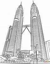 Towers Twin Petronas Coloring Pages Printable Malaysia Drawing Drawings Supercoloring Dot Paper Games London sketch template