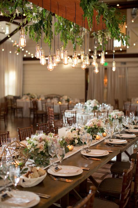 Wedding Reception Table Scape In The Granary With Hanging