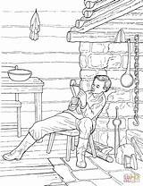 Cabin Log Coloring Pages Pioneer Reading Boy Lincoln America Inside Printable Adults Abe American Prairie Pioneers Study Unit Template Drawing sketch template
