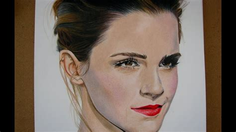 How Draw Emma Watson Colored Pencils Art Youtube