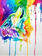 Colorful Wolf by Lucky978 on DeviantArt  Colorful Wolf Painting