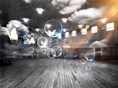 photo sports hall soap bubbles surreal