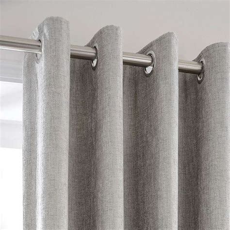 chenille silver lined eyelet curtains   patio door
